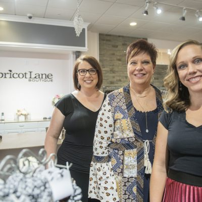 At Apricot Lane boutique, from left: Erin Brodbeck, Donna Walthall, Lindsey Murphy on Thursday, September 19, 2019.