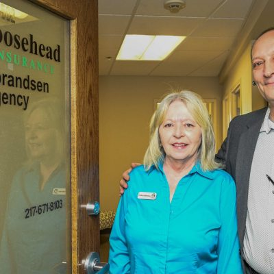 Gene and Charlene Guldbrandsen of Goosehead Insurance at their office in Champaign on Thursday, April 2, 2020.