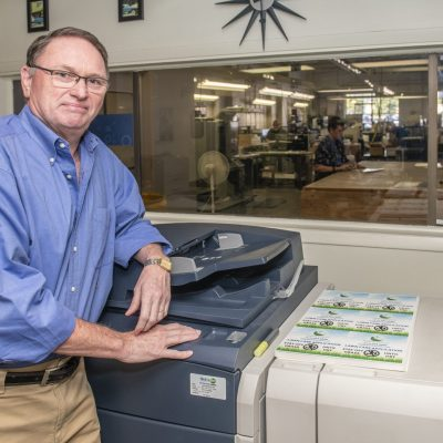 Peter Schmidt of UpClose Printing at his office in Champaign on Thursday, September 24, 2020.