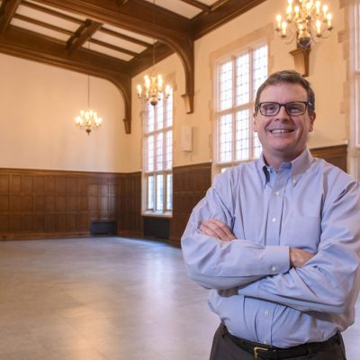 University YMCA executive director Jim Hinterlong in the remodeled Latzer Hallon Wednesday, March 31, 2021.